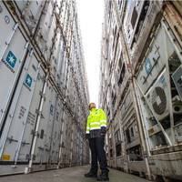 Derek Knox, Port Manager for Grangemouth in the port's busy reefer container compound. Photo Port of Grangemouth