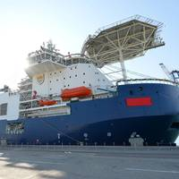 Designed by Keppel Offshore & Marine and built by Baku Shipyard, the state-of-the-art subsea construction vessel, Khankendi, will install the biggest subsea production system in the Caspian Sea (Photo: Keppel)