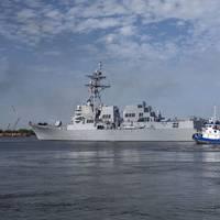 Destroyer Delbert D. Black (DDG 119) sails away from Ingalls Shipbuilding to the ship's homeport in Mayport, Fla. (Photo: Lance Davis/HII)