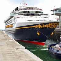 Disney Cruise Line's Disney Wonder transiting the Agua Clara Locks in April 2017. (Photo: ACP)
