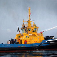 Display of SST Orca's fi-fi 1 classed off-ship fire-fighting system (Photo courtesy of BC Shipping News)