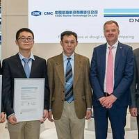 DNV GL presents CSSC CMC with MED certificates at Nor-Shipping. Photo: DNV GL