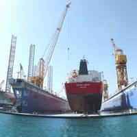 Donnelly Tankers vessel inside new VLCC size floating dock