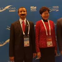 DP World Group Chairman and CEO, Sultan  			          Ahmed Bin Sulayem, with Chief Secretary for Administration of the Hong Kong Government, Ms Carrie Lam and UAE Minister of Economy, HE Sultan Bin Saeed Al Mansouri at the Belt and Road Summit in Hong Kong. Photo DP World
