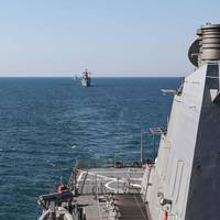 The Arleigh Burke-class guided-missile destroyer USS Ross (DDG 71) moves in formation with ships participating in Exercise Sea Breeze cohosted by U.S. Sixth Fleet and the Ukrainian Navy in the Black Sea, July 9, 2021. (Photo: Claire DuBois / U.S. Navy)