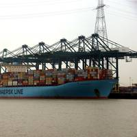 Eleonora Maersk at the Deurganckdok Pic by port of Antwerp
