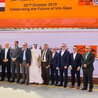 Enrique K. Razon Jr., ICTSI Chairman and President (center, fifth from left), Dr. Safaa Al-Fayyadh, Director General of the General Company for Ports of Iraq - GCPI (7th from the left) and Chief Atheal Abid Ali Salman, North Port Director, Umm Qasr (fourth from the left). Photo: ICTSI