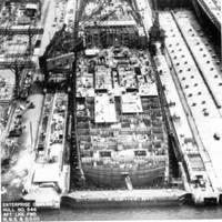 Enterprise taking shape in slipway #11, Newport News Shipbuilding. (U.S. Navy photo)