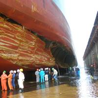 Evidence of the success of double-hull tankers: The Norwegian tanker SKS Satilla collided with a submerged oil rig in the Gulf of Mexico in 2009 and despite this damage, did not spill any oil. (Photo: Texas General Land Office)