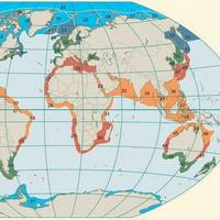Figure 1. The near­coastal areas of the world's oceans have been classed into 66 large, transnational marine ecosystems, known as the large marine ecosystems (LMEs). Taken from World Ocean Review Living with the Oceans. 5 Coasts – 2017. Image: The Author