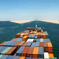file Image: A boxship transits the Suez Canal (CREDIT: AdobeStock / © Andriy Kovach