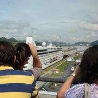 File image: a Cruise Ship transits the Panama Canal.