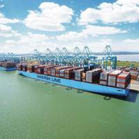 File Image: The Madrid Maersk, a 20,000+ TEU Box ship (CREDIT: Maersk)
