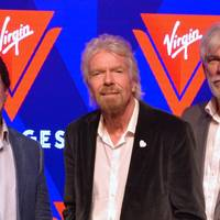 File photo - From left to right: Tom McAlpin, Virgin CEO and President; Sir Richard Branson, Founder Virgin; and Stuart Hawkins, Virgin SVP Marine and Technical at the rollout of the new name and logo for Virgin Voyages in 2017. (Photo: Wärtsilä)