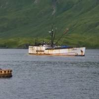 Fishing vessel Akutan in Captains Bay near Unalaska, Alaska, August 18, 2017. (U.S. Coast Guard photo)