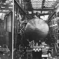 Flasher (SSN-613) (left) and Tecumseh (SSBN-628) are seen on the building ways at General Dynamics Electric Boat on 21 June 1963. They would be launched simultaneously on the following day. (Photo courtesy of Valllejo Naval and Historical Museum)