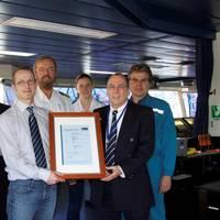 (f.l.t.r.): Sascha Wienberg (SEC), Igor Protsenko (Interschalt), Daniel Abt (GL Cargo Stowage & Securing Expert), Captain Dirk Trampe, Chief Mate Lisa Helmers, Werner Teichmann (Head of Reederei Offen's Nautical Department), Klaus Müller (GL Surveyor)