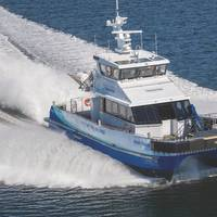 For the lifetime of the Block Island project, Atlantic Wind Transfers, using the Jones Act compliant and Blount-built Atlantic Pioneer, will provide crew and equipment transfer services to meet these key logistical requirements. (Photo: Blount Boats)