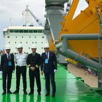 From left: Managing Director Mikki Koskinen, Chief Engineer Jarmo Kuronen, Master Jussi Vaahtikari and Chairman of the Board Aki Ojanen during the delivery ceremony. Photo: ESL Shipping Ltd