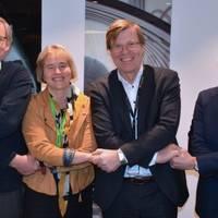 From left: Nils Magnus Himle, Business Development Manager/Eidesvik Offshore ASA; Anne Jorunn Møkster, CEO/Simon Møkster Shipping AS; Per Harald Kongelf, SVP Improvement/Aker BP ASA; and Lars Peder Solstad, CEO/Solstad Offshore ASA (Photo: Aker BP)