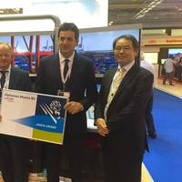 From left of right: Jan Fransen - Executive Director Green Award, Luuk Vroombout - CEO Alphatron Marine Group, Dimitrios Mattheou - Chairman Green Award and Takayoshi Tsuchida - President Japan Radio Co Ltd (Photo: Alphatron Marine)