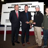 From left: Peter Keller, EVP of TOTE; Congressman Duncan Hunter, Walter Tschernkowitsch, Manager, General Dynamics NASSCO Steel Dept. and Duncan Hunter, Congressman Hunter's son who did the honors of making the first cut of steel on TOTE's new Marlin Class hull #495.