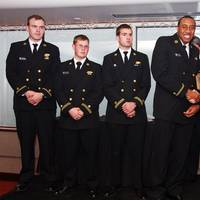 from left to right: Cadets Kevan Stoeckler, Michael Pluhowsk, William Courtney, Joshua Beck, and Crowley Marine Recruiter Jenny Terpenning