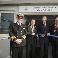 From left to right: Captain (RN) Chris Smith, Lord Provost of Edinbugh Donald Wilson, Ian Booth, ACA Managing Director, Lord Provost of Fife, Jim Leishman and Captain (RN) Simon Petitt at the opening of the Aircraft Carrier Alliance Visitor Center. (Photo: BAE Systems)