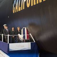 From left to right, Cmdr. Dana Nelson, commanding officer, Pre-commissioning Unit California, Jackalyne Pfannenstiel, assistant secretary of the Navy, Energy, Installations and Environment; Mike Petters, president of Northrop Grumman Shipbuilding and Mrs. Donna Willard, sponsor of California. Northrop Grumman Shipbuilding christened the eighth submarine of the Virginia class, California (SSN 781), at the company's Shipbuilding sector in Newport News, Va. on Nov. 6.