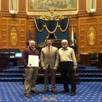 From left to right: Michael Julian, Rep. Adrian Madaro, Karl Julian (Photo: Blue Atlantic Fabricators)