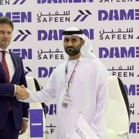 From left to right: Pascal Slingerland (Regional Sales Director, Damen Shipyards Group), Captain Adil Ahmed Banihammad (Chief Marine Services Officer, Safeen). Photo: Damen Shipyards Group
