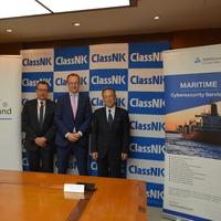From left, Tobias Schweinfurter, President and CEO, TÜV Rheinland Japan, Dr. Michael Fübi, Chairman, TÜV Rheinland, Koichi Fujiwara, President & CEO, ClassNK  (Photo: ClassNK)