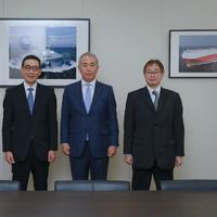 "From right: ShipDC President Yasuhiro Ikeda; ""K"" LINE Vice President, Executive Officer Atsuo Asano; ClassNK President & CEO Hiroaki Sakashita and ""K"" LINE Associate Director Joichi Sasaki (Photo: ShipDC)"
