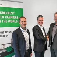 From the left ESL Shipping represented by Tero Valu, Ship Operator and Mikke Koskinen, Managing Director. Skangas's Tommy Mattila, Sales and Marketing Director and Jouni Bedda, Sales Manager. Photo: Skangas