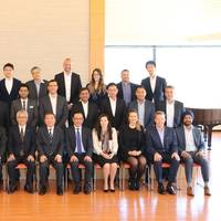 Front row, sixth from left, NYK director and senior managing corporate officer Yoshiyuki Yoshida; seventh, YLK director and managing executive officer Yasuhiko Ueda. Photo: NYK