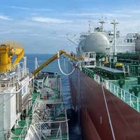 FueLNG Bellina delivering LNG bunker to Aframax tanker, Pacific Emerald. Photo Courtesy MPA Singapore