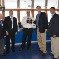 Welcoming Frijsenborg Master Francesco Rafanelli to Port Everglades are, from left: John Mullins of Portus, and from Port Everglades: Deputy Port Director Glenn Wiltshire, Business Development Manager Robert Barcel ó, Chief Executive Steve Cernak and Assistant Director of Business Development Jean Elie. (Photo: Port Everglades)