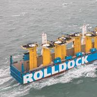 RollDock Shipping: sophisticated loading/unloading systems for wind turbine component transportation. (Photo courtesy of Roll Group)