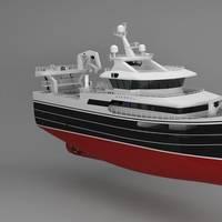 """Gifico's new fishing vessel, """"Ginneton"""", will operate with a Wärtsilä 32 main engine and other Wärtsilä solutions. © Karstensens Shipyard"""