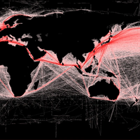 Global shipping routes crisscross the world's oceans. Credit: Grolltech