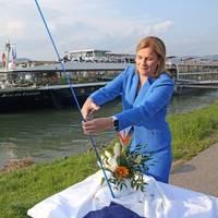 Godmother Jill Ellis christens the Avalon Passion in Linz, Austria. Photo: Avalon Waterways