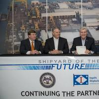 "Gov. Phil Bryant (third from left) participates in the ceremonial signing of the ""Shipyard of the Future"" bill at Ingalls Shipbuilding, along with (left to right) Lt. Gov. Tate Reeves, Ingalls Shipbuilding President Brian Cuccias and Mississippi House Speaker Philip Gunn. (Photo: Andrew Young/HII)"