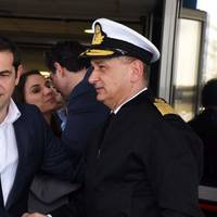 Greek Prime Minister Alexis Tsipras (left) (Photo courtesy of the Hellenic Coast Guard)