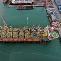 Guyana-bound: The Chinese-built Liza Unity FPSO last year arrived in Singapore for topsides integration. The FPSO is destined for the ExxonMobil-operated Liza field development in Guyana. (Photo: SBM Offshore)