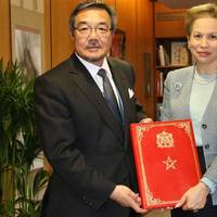 H.H. Princess Lalla Joumala Alaoui handed over Morocco's instrument of ratification to IMO Secretary-General Koji Sekimizu (Photo: IMO)