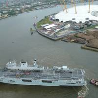 'HMS Ocean' at Greenwich: Photo credit UK MOD