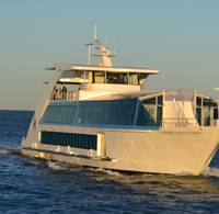Hornblower Hybrid, the first vessel powered by diesel, hydrogen, batteries, wind and solar energy.