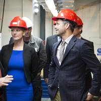 HRH Crown Prince Fredrik of Denmark tours the Alfa Laval Test & Training Center together with Ida Auken, Danish Minister for the Environment. Their guide is Lars Skytte Jørgensen, Vice President of Alfa Laval Product Center Boilers, which is responsible for the facility.