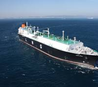 """Hyundai Heavy Industries' built Abdelkader, a 177,000 cu. m. Tri-Fuel Diesel Electric LNG Carrier which was named """"Great Ship of the Year"""" in 2010 by Maritime Reporter & Engineering News."""