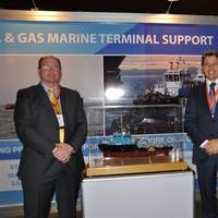 Ian David Hugo, Managing Director AfrikDelta Marine Ltd (ADML), Daan Koornneef Group CEO Smit Lamnalco and Anwar Jarmakani, Chairman AfrikDelta Marine Ltd at the ADML stand, Nigeria Oil & Gas 2013.